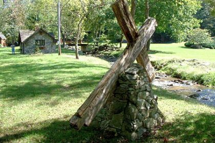 Large wooden cross mounted on a rock in Trust, N.C. (North Carolina)