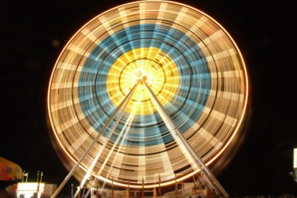 Farris wheel at night at the Anderson County Fair in Anderson, SC