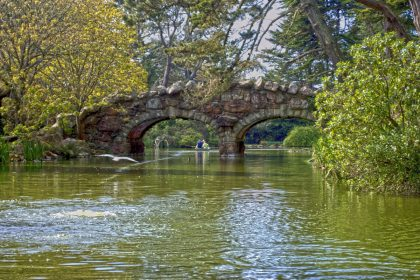 Rock bridges cross over Stow Lake in the Golden Gate park of San Francisco, California.