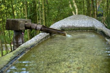 Tsukubai, a boat shaped stone water basin with a water spout with flowing water into a rock boat in The Japanese Tea Garden in the Golden Gate Park of San Franciso, CA.