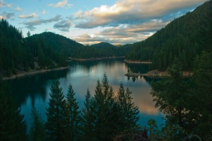 McCloud Reservour in Northern California is calm in the setting sun